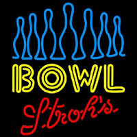 Strohs Ten Pin Bowling Beer Sign Neontábla