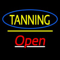 Tanning Open Yellow Line Neontábla