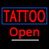 Tattoo With Blue Border Open Neontábla