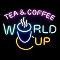 Tea Coffee World Cup Neontábla