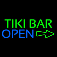 Tiki Bar Open With Arrow Neontábla