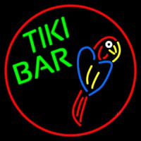 Tiki Bar Parrot Oval With Red Border Neontábla
