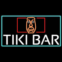 Tiki Bar Sculpture With Turquoise Border Real Neon Glass Tube Neontábla