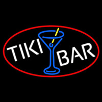 Tiki Bar Wine Glass Oval With Red Border Neontábla