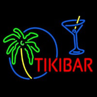 Tiki Bar With Wine Glass Neontábla