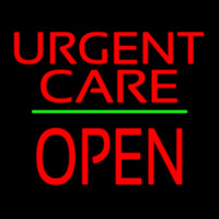 Urgent Care Block Open Green Line Neontábla