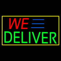 We Deliver Yellow Rectangle Neontábla