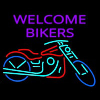 Welcome Bikers With Bike Neontábla