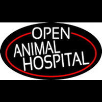 White Open Animal Hospital Oval With Red Border Neontábla