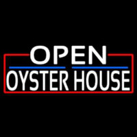 White Open Oyster House With Red Border Neontábla
