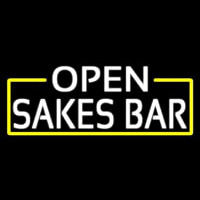 White Open Sakes Bar With Blue Border Neontábla