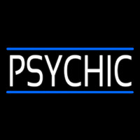 White Psychic With Blue Line Neontábla