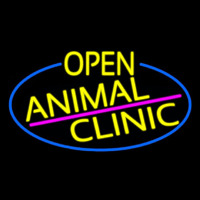 Yellow Animal Clinic Oval With Blue Border Neontábla