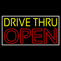 Yellow Drive Thru Open Red Neontábla