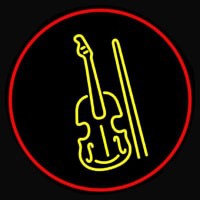 Yellow Violin Logo Red Border Neontábla