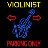 Yellow Violinist Red Parking Only Neontábla