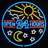 open 24 hours sun moon day BEER BAR PUB Neontábla